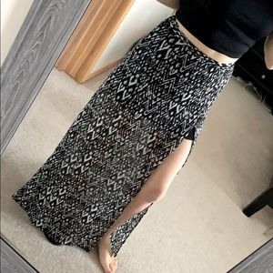 H&M // Black and White Maxi Skirt with Slits
